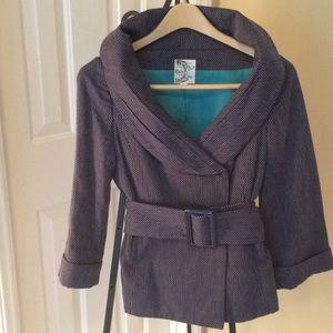Tulle Jacket. NWOT fabric blue design with belt.
